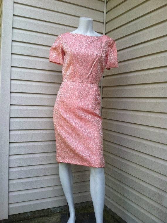 1950's vintage Pink Brocade party dress New Look/… - image 2