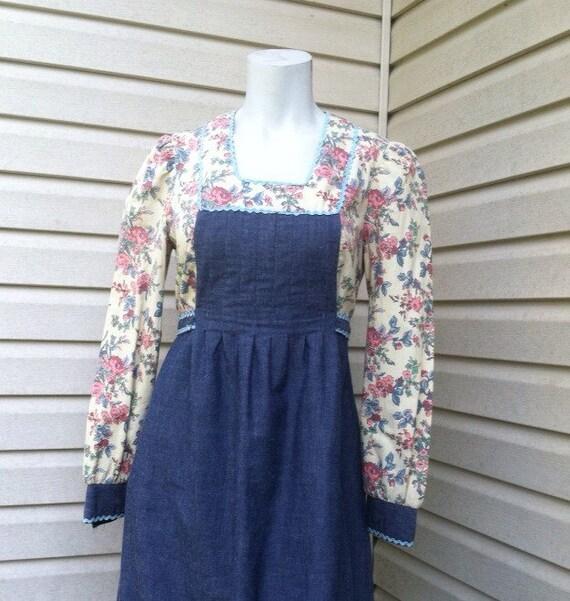1960's vintage Prairie Peasant maxi dress/60's Pea