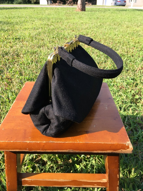 1950's vintage Black Gold wool handbag/50's black