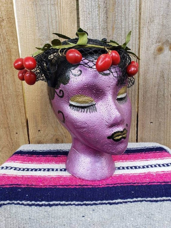 1940's vintage novelty cherries mesh hat/40's Rock