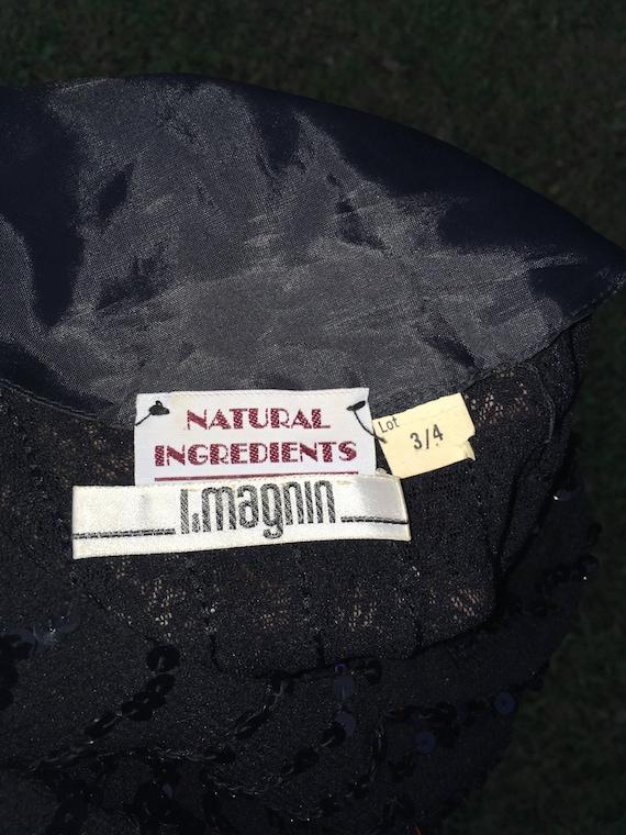 1970's vintage I. Magnin Black sequin party dress… - image 6