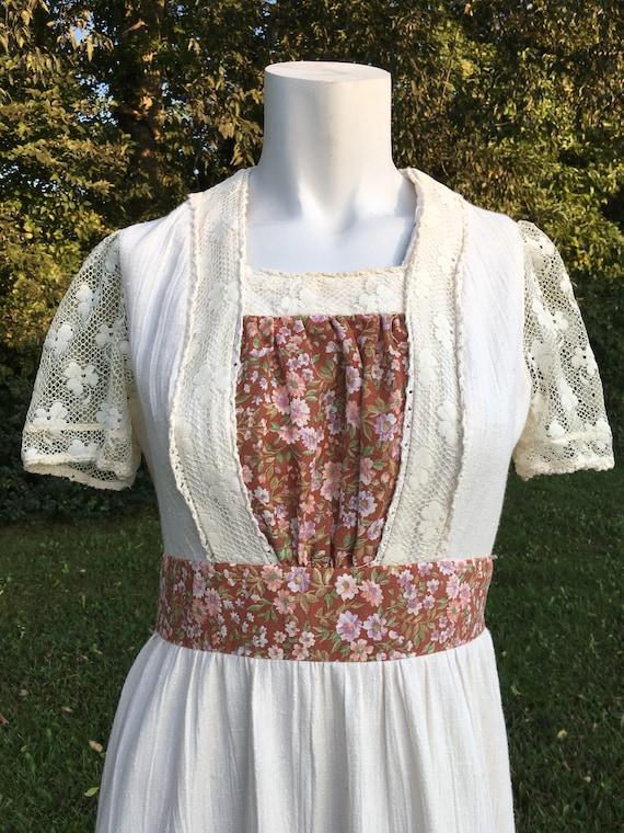 1960's vintage linen and lace Hippie boho maxi dre