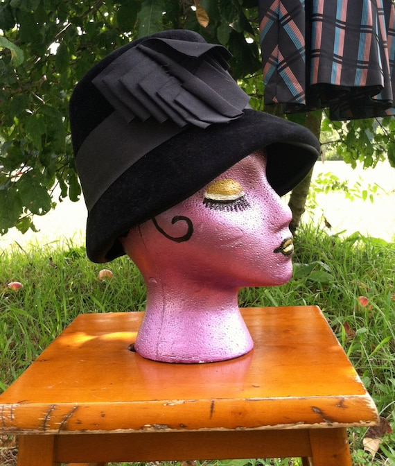 40's vintage hat/40's black wool felt  hat /40's u