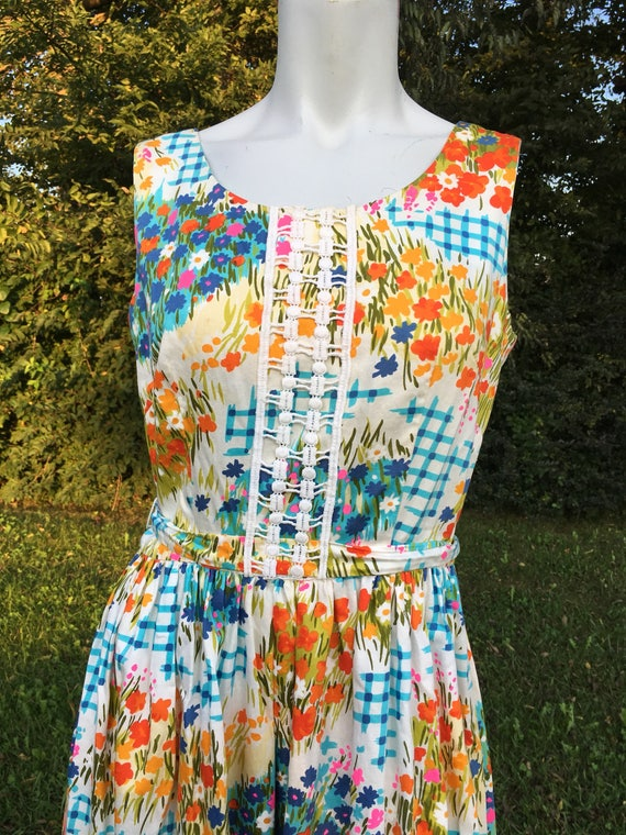 1960's vintage Hippie floral Maxi Dress/60's psych