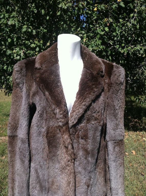 1940's vintage genuine fur short coat/40's brown … - image 2