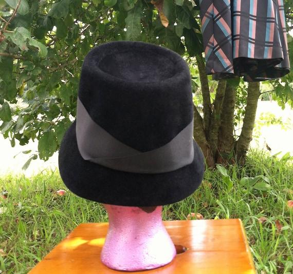 40's vintage hat/40's black wool felt  hat /40's … - image 4