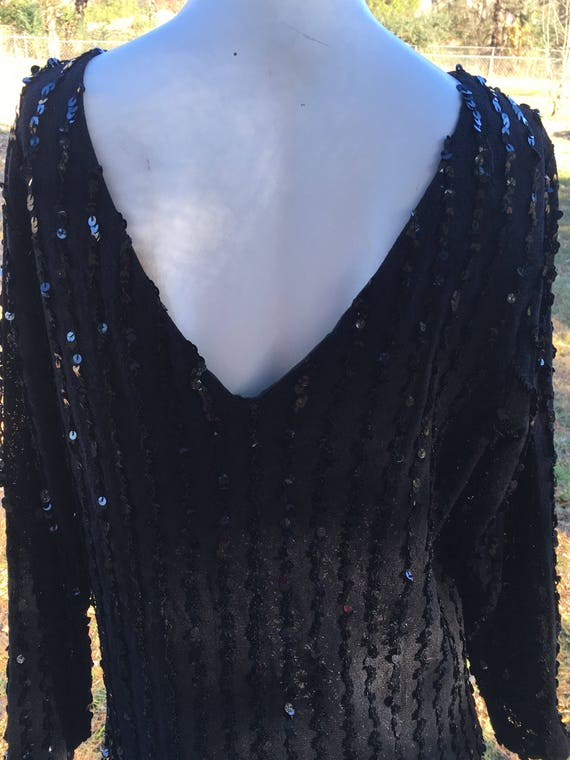 1970's vintage I. Magnin Black sequin party dress/