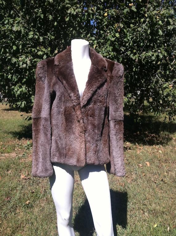 1940's vintage genuine fur short coat/40's brown … - image 1