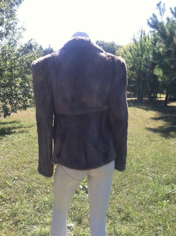 1940's vintage genuine fur short coat/40's brown … - image 4