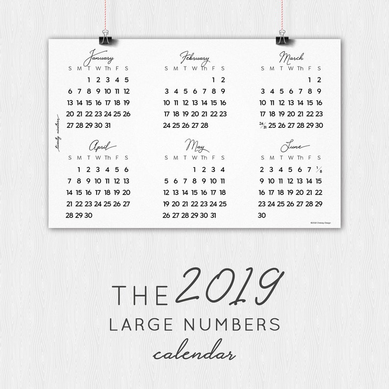 image relating to Large Printable Numbers identified as 2019 Higher Figures Calendar-PRINTABLE-Electronic Obtain