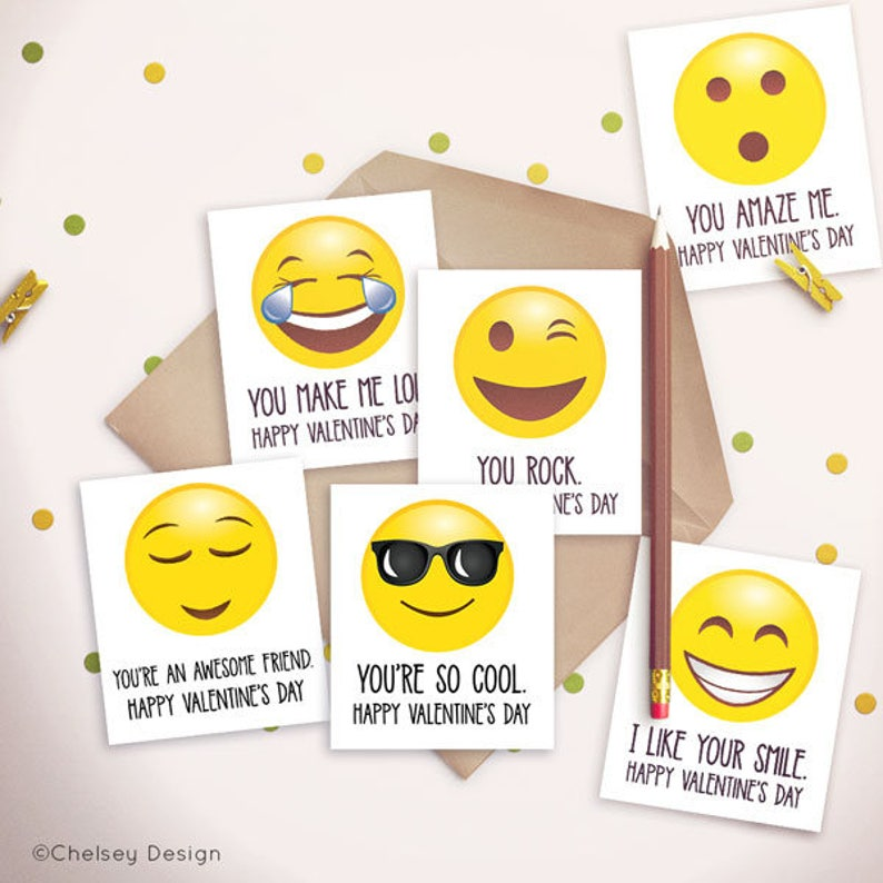 Emoji Valentine's Card  Emoticon  For Classroom  Boys  image 0