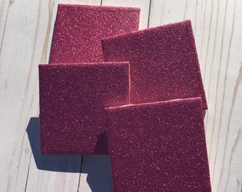 Glitter Coasters ~ Ceramic Tile Coasters ~ Pink Glitter Coasters ~ Pink Coasters ~ Girly Decor ~ Girls Room ~ Coaster Set ~ Drink Coasters