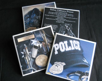 Police Coasters ~ Police Officers ~ Ceramic Tile Coasters ~ Law Enforcement ~ Drink Coasters ~ Gift for Cops  ~ Coaster Set ~ Police Decor
