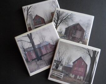 Red Barns ~ Barn Coasters ~ Barns with American Flags ~ Antique Barns ~ Country Rustic Decor ~ Americana Decor ~ Ceramic Tile Coasters
