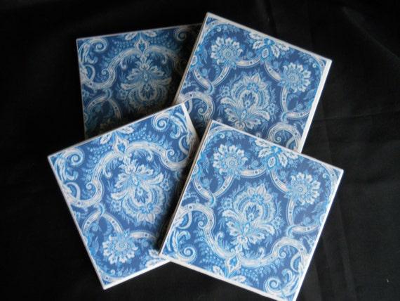 Cobalt Blue Coasters Ceramic Tile Coasters Blue Damask Etsy