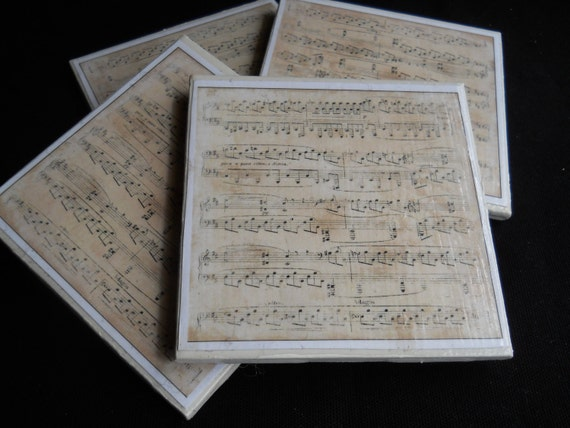 Music Coasters ~ Ceramic Tile Coasters ~ Music Sheets ~ Drink Coasters ~ Home Decor ~ Music Teacher Gift ~ Music Lover Gift ~ Bar Coasters