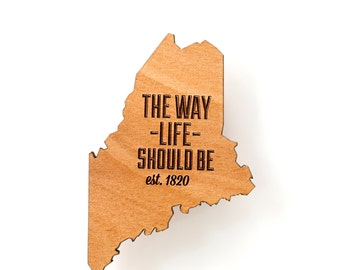 Maine State Wooden Lasered Magnet