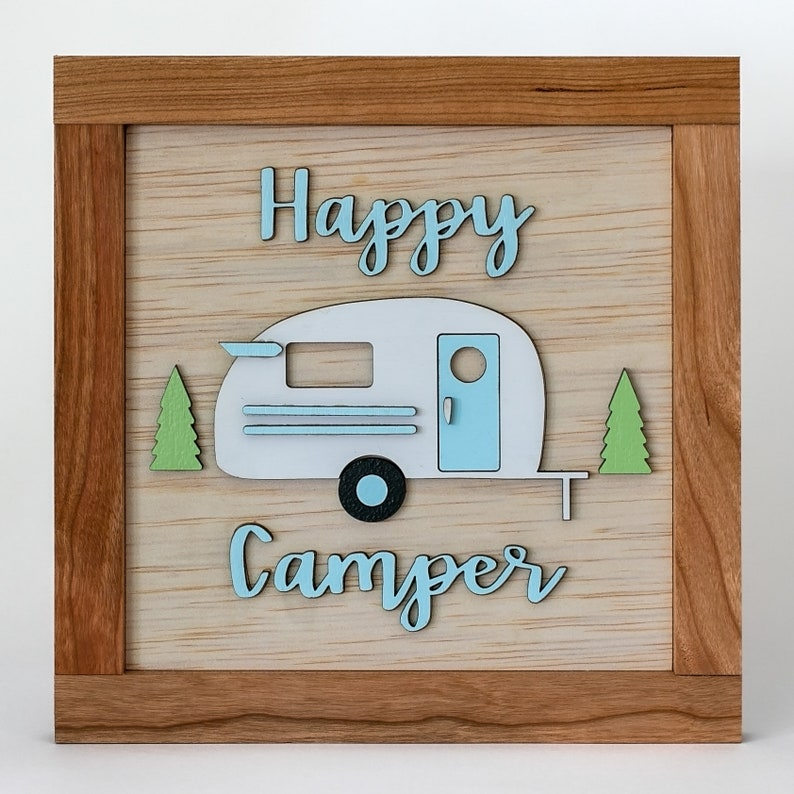 Happy Camper Sign Wooden Sign image 0