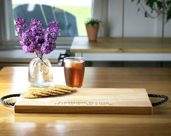 Maple Wood Serving Tray/Cutting Board with Nautical Rope Handles, Housewarming gift, Wedding gift