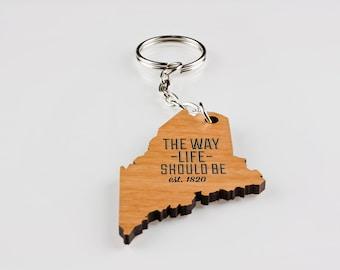 Key Chain, Maine, Wood, Lasered