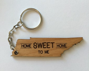 Tennessee Keychain, Tennessee, Zipper Pull, Gift, Keychain, Keyring, Home Sweet Home
