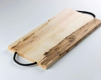 Rustic Maple Wood Coastal Serving Tray with Nautical Rope Handles