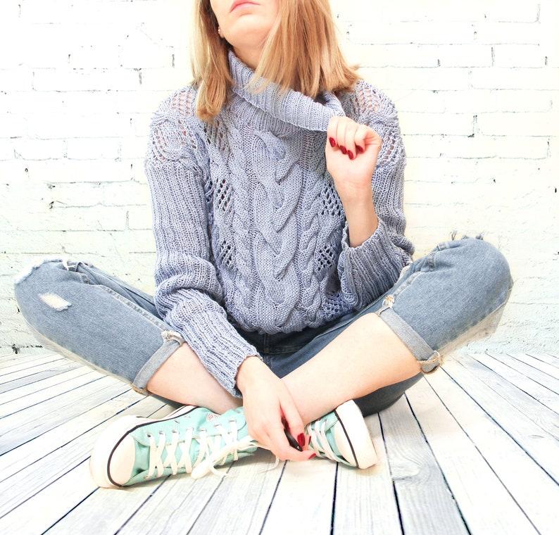 Aran cotton sweater Knit sweater Hand knitted sweater Blue cotton sweater Gift for her