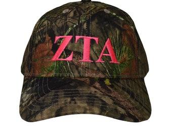 cc05dd18b787c Zeta Tau Alpha (L) Sorority Letter Mossy Oak Camo Hat with Pink Thread  Baseball Hat