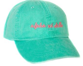 cd06c30f80f Alpha Xi Delta (N) Sorority Cursive Name Design Sea Foam Hat with Coral  Thread Baseball Hat tri delta