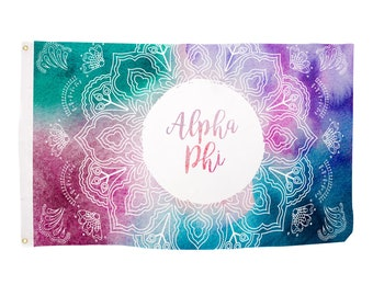 0eb8b10050 Alpha Phi Mandala Water Color Sorority Flag Greek Letter Use as a Banner  Large 3 x 5 Feet Sign Decor