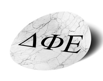 """Delta Phi Epsilon Sorority 3"""" Black and White Marble with Letters Sticker/Decal DPhie"""
