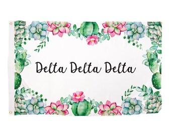 33655a84 Delta Delta Delta Succulent Sorority Flag Greek Letter Use as a Banner  Large 3 x 5 Feet Sign Decor Tri Delta