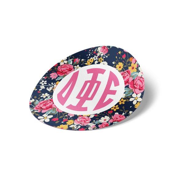"Delta Phi Epsilon 3/"" Circle White Rose Sticker"