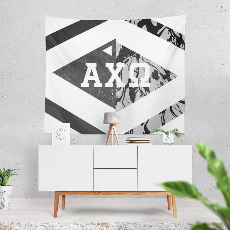 Alpha Chi Omega Sorority Diamond Marble Wall Tapestry 60 Inches x 80 Inches  AXO