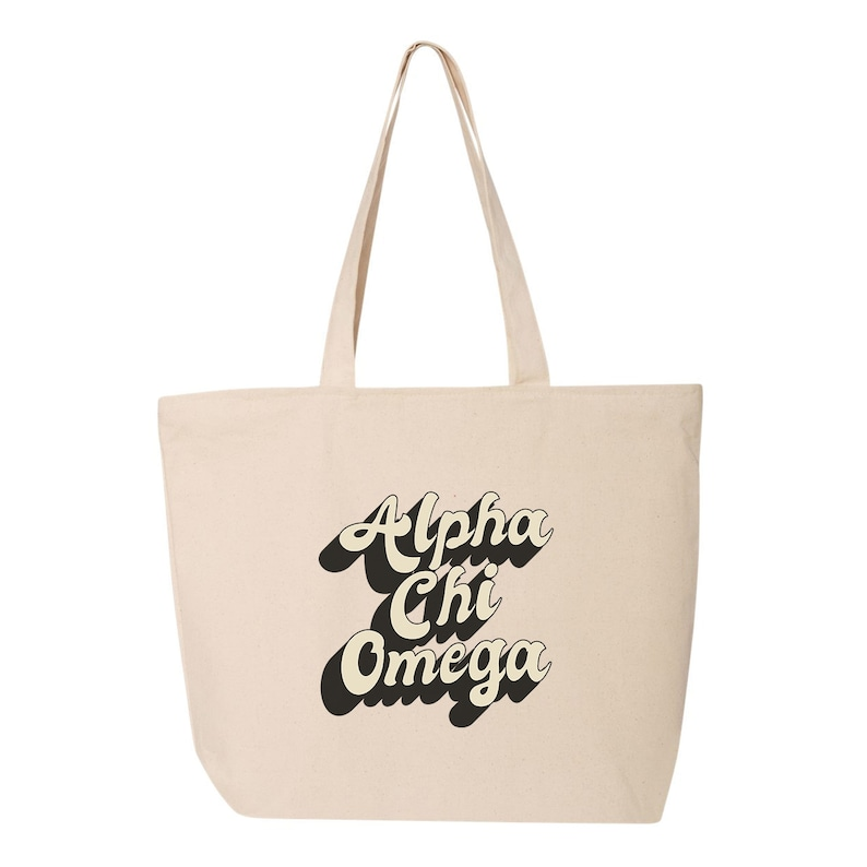 Alpha Chi Omega Natural Canvas Cloth Printed Shopping Tote Bag (70's Design  #3)