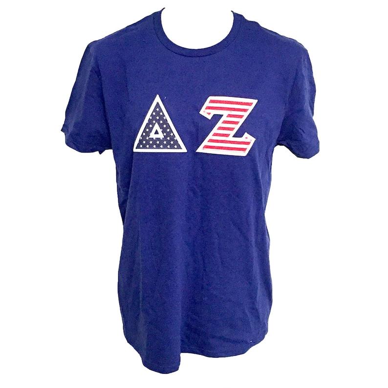 Delta Zeta Sorority USA Sewn Letter Shirt dz