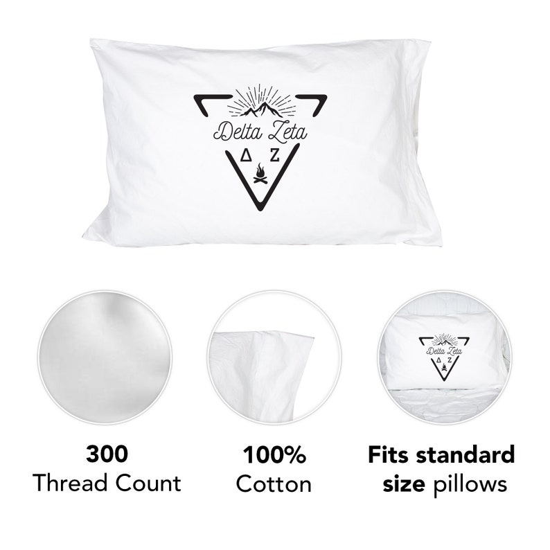 Delta Zeta Sorority Sunset Cactus Pillowcase 300 Thread 100/% Cotton Count DZ