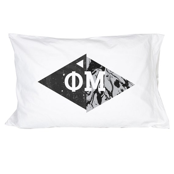 Phi Mu Floral Letters with Founding Year Pillowcase 300 Thread Count