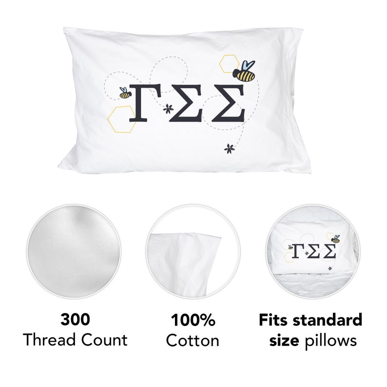 Gamma Sigma Sigma Sorority Flying Bees Pillowcase 300 Thread 100/% Cotton Count GSS