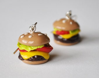 Polymer Clay Cheeseburger Earrings