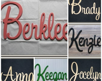 """Wooden Name  12"""" 15"""" or 18"""" Capital Letter  Unpainted or Painted Connected Wood Name Boys and Girls Name Wall Letters Kids Room"""