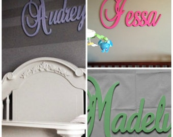 """Wooden Name  12"""" 15"""" or 18"""" Capital Letter  Unpainted or Painted Connected Wood Name Boys and Girls Name Wall Letters"""