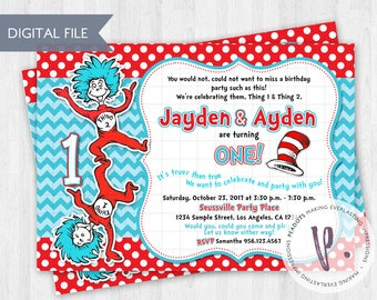 Thing 1 2 Invitations Dr Seuss Cat In The Hat