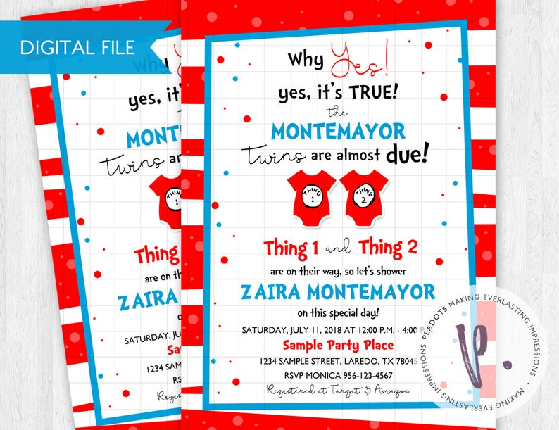Thing 1 & Thing 2 Baby Shower Invitations / Cat in the Hat / image 0