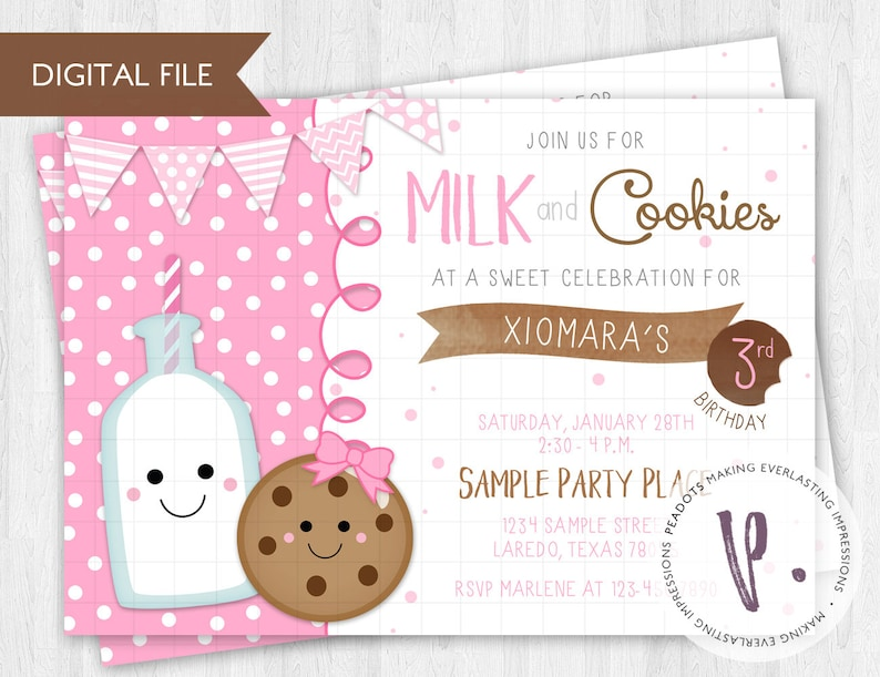 Milk and Cookies Party Invitation / Breakfast Brunch / Sweets image 0