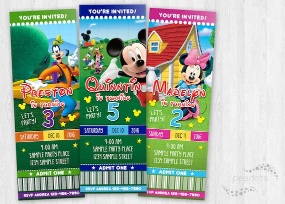 Mickey Mouse Clubhouse Digital Ticket Invitations Mickey Friends