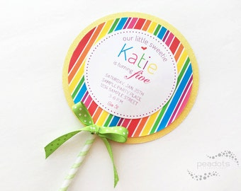 Candyland, Lollipop Invitations