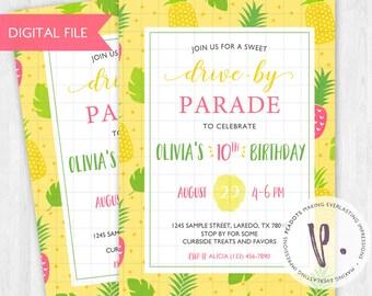 Pineapple/Palm Trees Drive-by / Quarantine Invitations