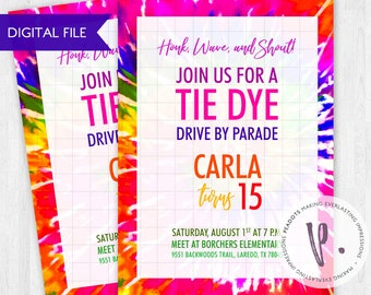 Tie Dye Party Drive-by Parade Digital Invites