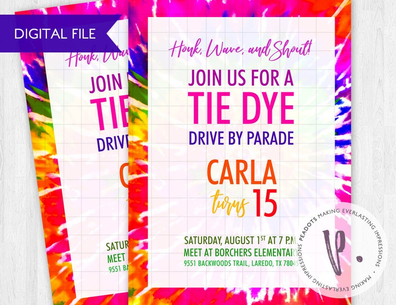 Tie Dye Party Drive-by Parade Digital Invites image 0